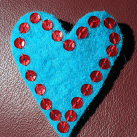 Turquoise Heart Sequin Brooch - Romantic hand stitched felt brooch