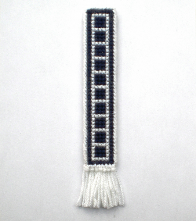Navy and White Cross Stictch Bookmark