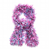 Pink and Blue Shaggy Scarf