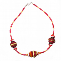 Red Button and Bead Necklace