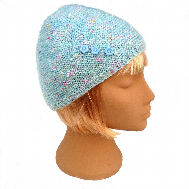 Child's Pastel Blue Green Beanie