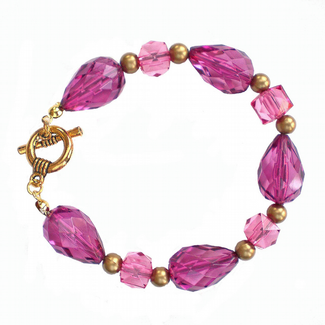 Rose Pink and Gold Chunky Bead Bracelet