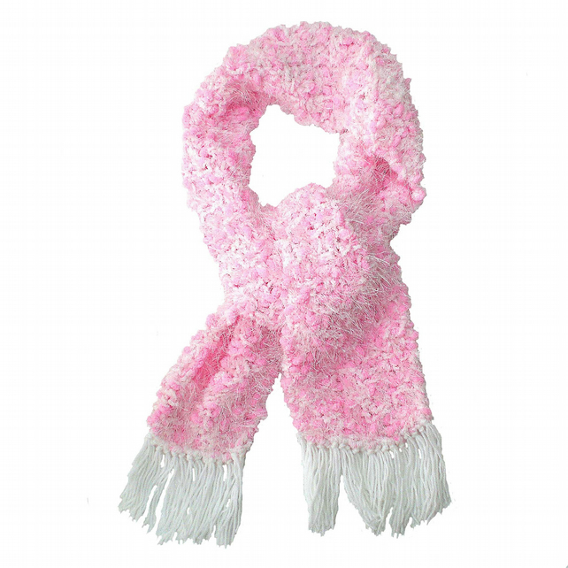 Pink and White Sparkle Warm Winter Scarf