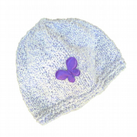 Mauve and White Baby Beanie, Baby, Child, Gift, Present