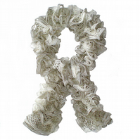 White, Grey and Silver Ruffle Scarf