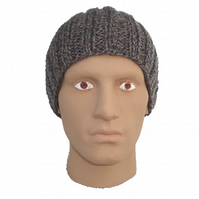 Mens Boys Grey Ribbed Beanie