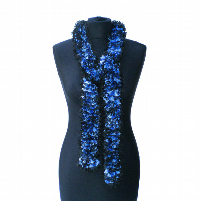 Royal Blue, Pale Blue and Black Glitter Ruffle Scarf