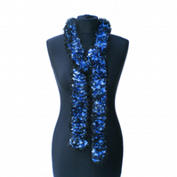 Royal Blue, Pale Blue and Black Glitter Ruffle Scarf, Summer Scarf