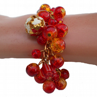 Gold, Red and White Bead Bracelet, Charm Bracelet, Red Bracelet, Gold Bracelet