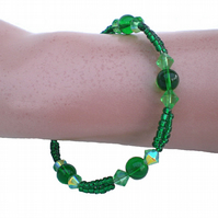 Bright Green Bead Bracelet, Green Bracelet, Gift for Her