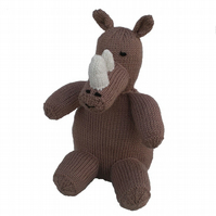 Knitted Rhino Toy CE Tested
