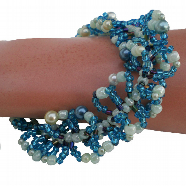 Turquoise Blue Bead Bracelet, Looped Bracelet, Ladies Gift, Woman's Present