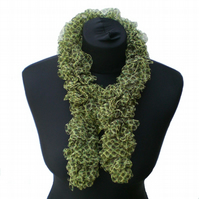 Olive Green Net Ruffle Scarf, Woman Gift, Mothers Day Present