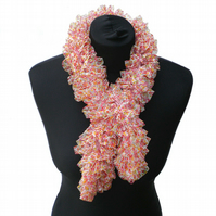 Ladies Pinky Orange Floral Ruffle Scarf, Woman Gift, Present