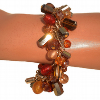 Gold, Copper, Brown and Amber Bead Bracelet