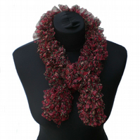 Black, Red and Green Floral Net Ruffle Scarf