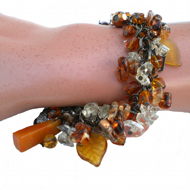 Black, Amber and Brown Bead Bracelet, Valentines, Mothers Day Gift