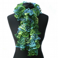 Green and Blue and Yellow Ruffle Scarf, Ladies Gift, Mothers Day Present.