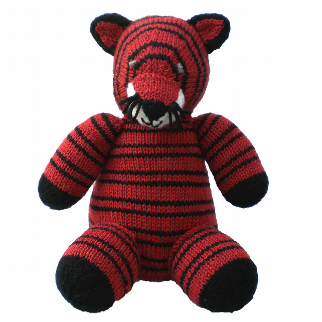 Child's  Knitted Tiger Toy, CE Tested