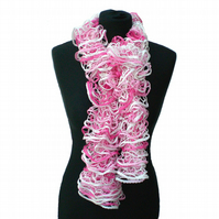 Pink and White Ruffle Scarf, Fashion Accessory, Lacy Scarf, Summer Scarf,