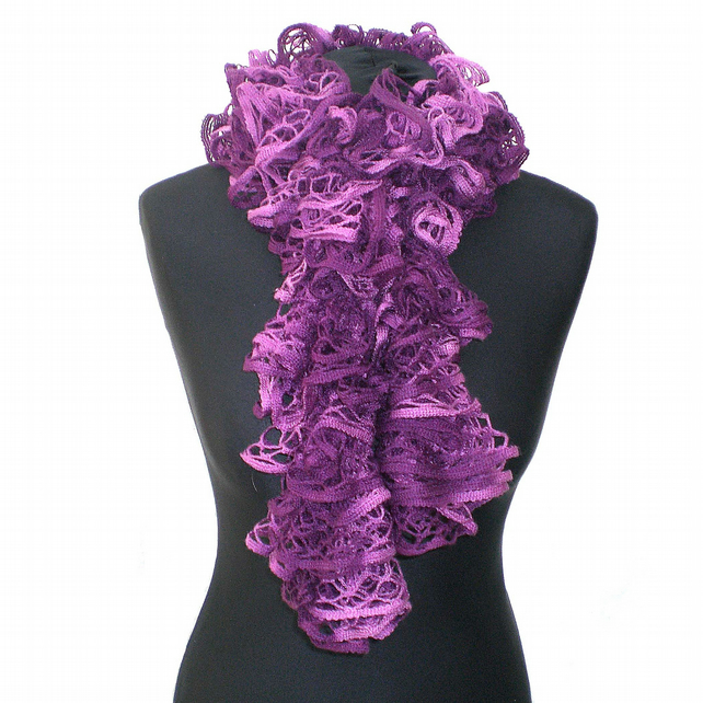 Plum Purple Stylecraft Ruffle Scarf