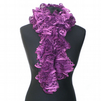 Plum Purple Ruffle Scarf, Ladies Gift, Mothers Day Present