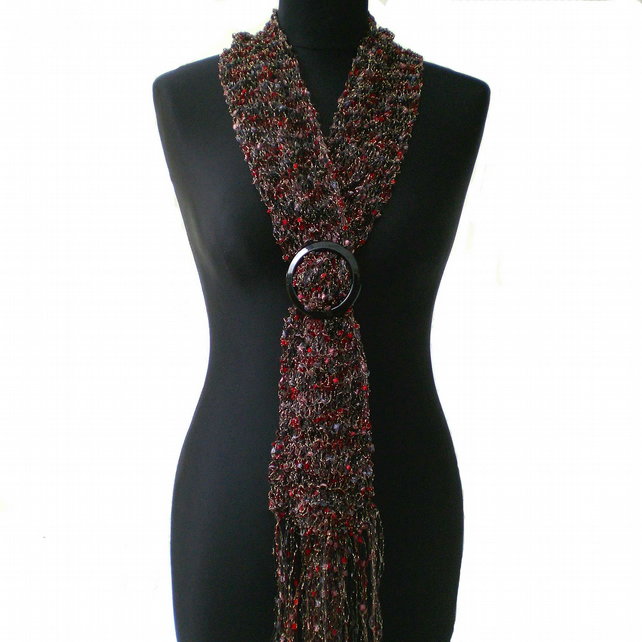 Black and Red Ladder Yarn Scarf with Buckle Slider, Ladies Gift, Mothers Present