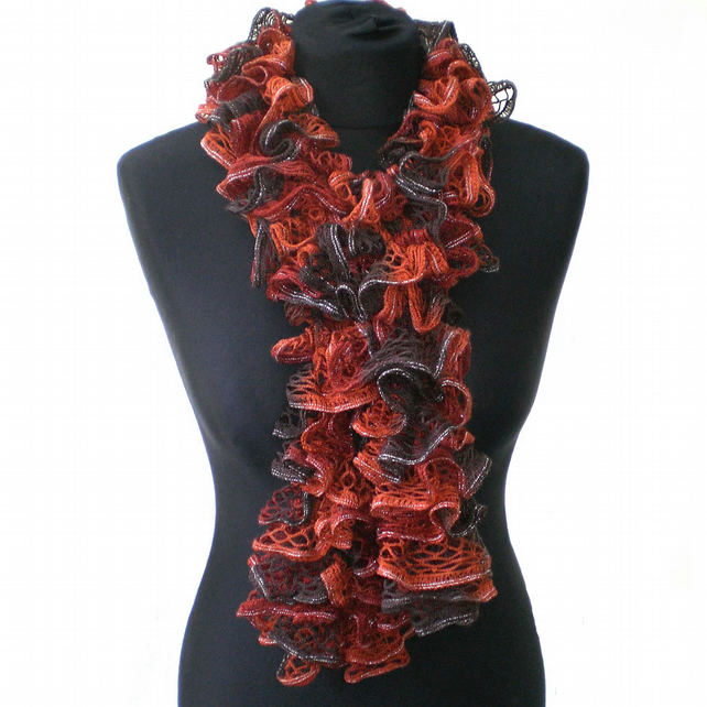 Chocolate, Russet and Silver Ruffle Scarf, Ladies Gift, Womens Present