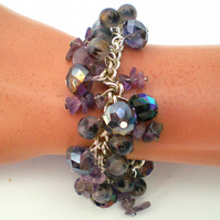 Purple Amethyst Gem Stone and Bead Silver Chain Bracelet