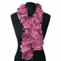 Pink, Cream and Light Brown Ruffle Scarf, Ladies Gift, Woman Present