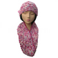 Ladies' Woman's Rose Pink, Peach, Lilac and White Infinity Scarf and Hat