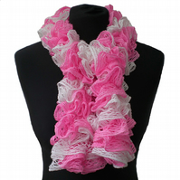 Ladies Ruffle Scarf, Pink and White Scarf, Women Scarf, Lacy Scarf, Gift for Her