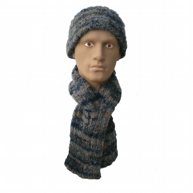 Men's, Boy's, Ladies' Woman's Blue and Beige Winter Scarf and Beanie Hat.