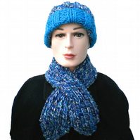 Turquoise, Blue and White Keyhole Scarf and Beanie Hat, Gift for Man or Woman