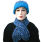 Man's, Woman's  Blue White and Turquoise Keyhole Scarf and Beanie Hat Set