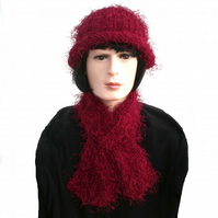 Ladies Dark Red Winter Scarf and Hat Set, Hand Knitted Hat and Scarf Set