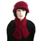 Ladies Woman's Dark Red Winter Scarf and Hat Set, Gift for Her