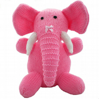 Pink Hand Knitted Elephant Toy, Collectable, CE Tested, Child Gift, Kids Present