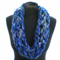 Ladies' Woman's Blue and Grey Infinity Scarf, Neckwarmer, Cowl, Gift for Her
