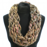 Olive Green and Pink Infinity Scarf, Cowl, Gift for Her