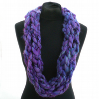 Purple and Blue Infinity Scarf, Neckwarmer, Gift for Her