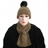 Men's, Boy's, Khaki, Light Brown, Keyhole Scarf and Hat Set,  Gift for Him