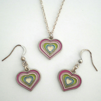 Rainbow Heart Enamel Pendant and Earrings Set, Heart Jewellery Set