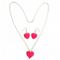 Bright Pink Heart Pendant and Earrings, Heart Necklace, Heat Earrings