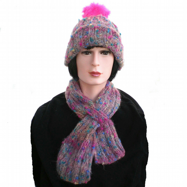 Pink Mohair Keyhole Scarf and Pom-Pom Beanie, Ladies Hat and Scarf Set