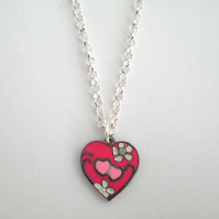 Hot Pink Enamel Heart Pendant Necklace, Gift for Her, Valentine's Present
