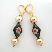 Black and Gold Cloisonne Bead Earrings, Gold Earrings, Black earrings
