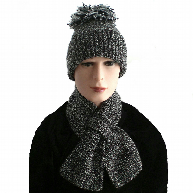 Black, White and Grey Winter Bobble Hat and Keyhole Scarf, Mens, Boys, Ladies