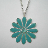 Blue Green Flower Pendant, Ladies, Girls  Gift, Mothers Day Present