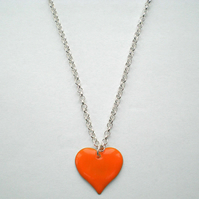 Orange Heart Pendant Necklace, Ladies, Women's Gift, Mothers Day Present